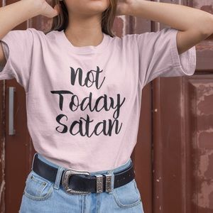 NEW Not Today Satan soft tee shirt graphic S-4X